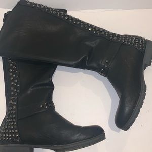 High leather knee boots with studs